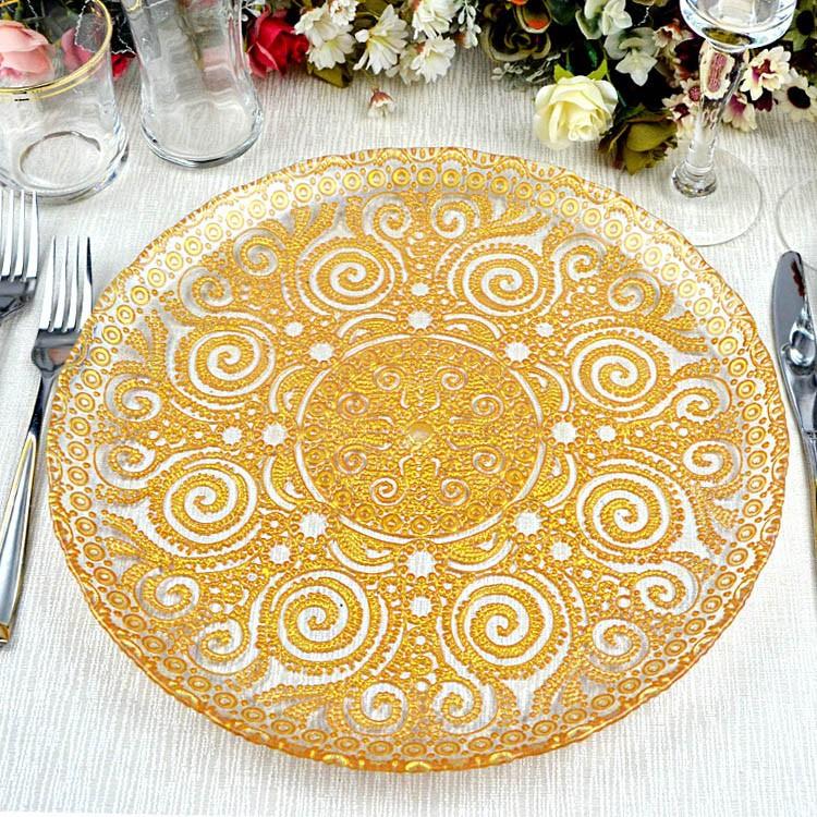 groothandel goedkope decoratieve gouden zilveren bloem bruiloft reli u00ebf glazen lader plaat