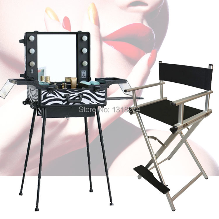 High quality lighting makeup case with portable chair