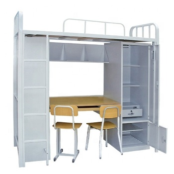 Metal Double Bunk Bed With Desk Cabinet