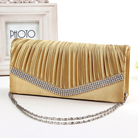 Fashion charmming Lady satin clutch evening bag with crystal fitting