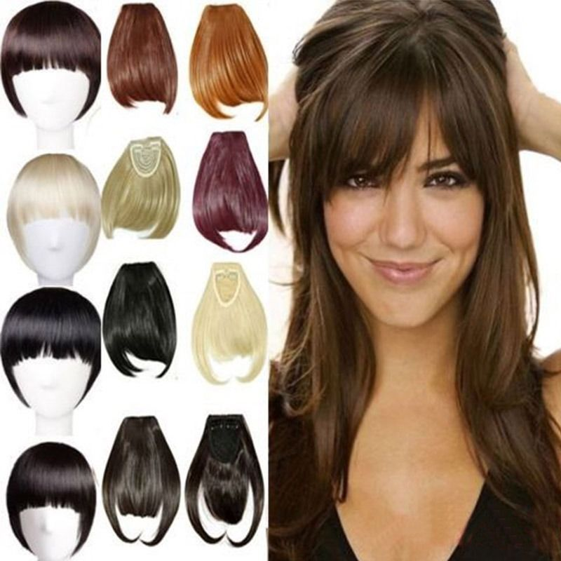 Natural Fake Bang With Fringe Clip On Synthetic Bangs Buy Remy