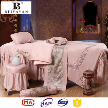 Massage Table Sheet Sets Pink Cotton Bedding Sets For Spa Store ...