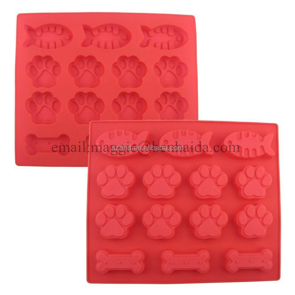 Pet Paw Bone Homemade Treat Dog Silicone Mold Chocolate Candy Ice Cube Soap Mold