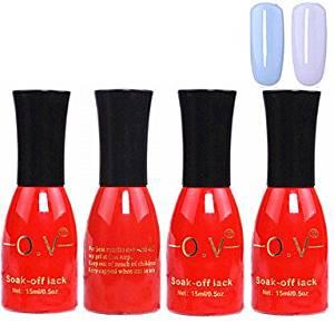 QINF 4PCS OV Red Bottle Soak-off UV Gel Set Top Coat+Base Gel+2 UV Color Builder Gel(No.71-72,15ml)