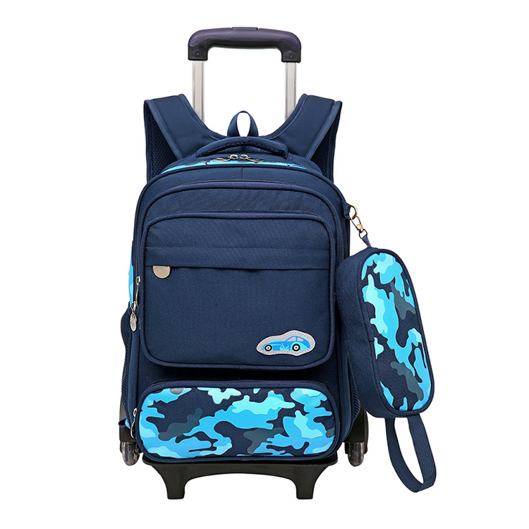 2017 Innovative Product Kids School Rolling Backpack Car Reflective Tape Trolley Children Bag With Stair Climbing Wheels