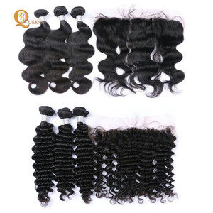 Dropshipper Hair Peruvian Virgin Hair Bundles With Frontal Transparent Swiss Lace Frontal Human Hair Frontal