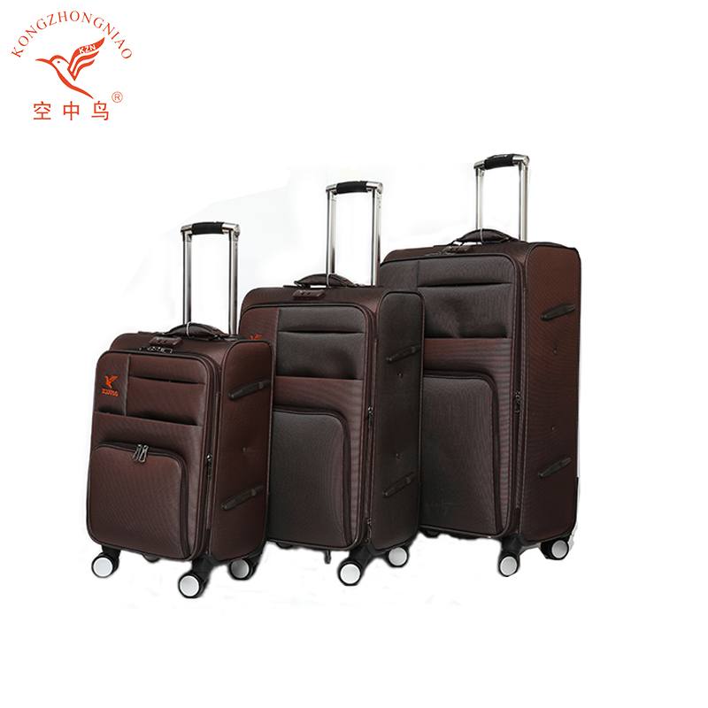 4 wheels Brown Luggage Set , 2017 Fashion Style Travel Suitcase Bags