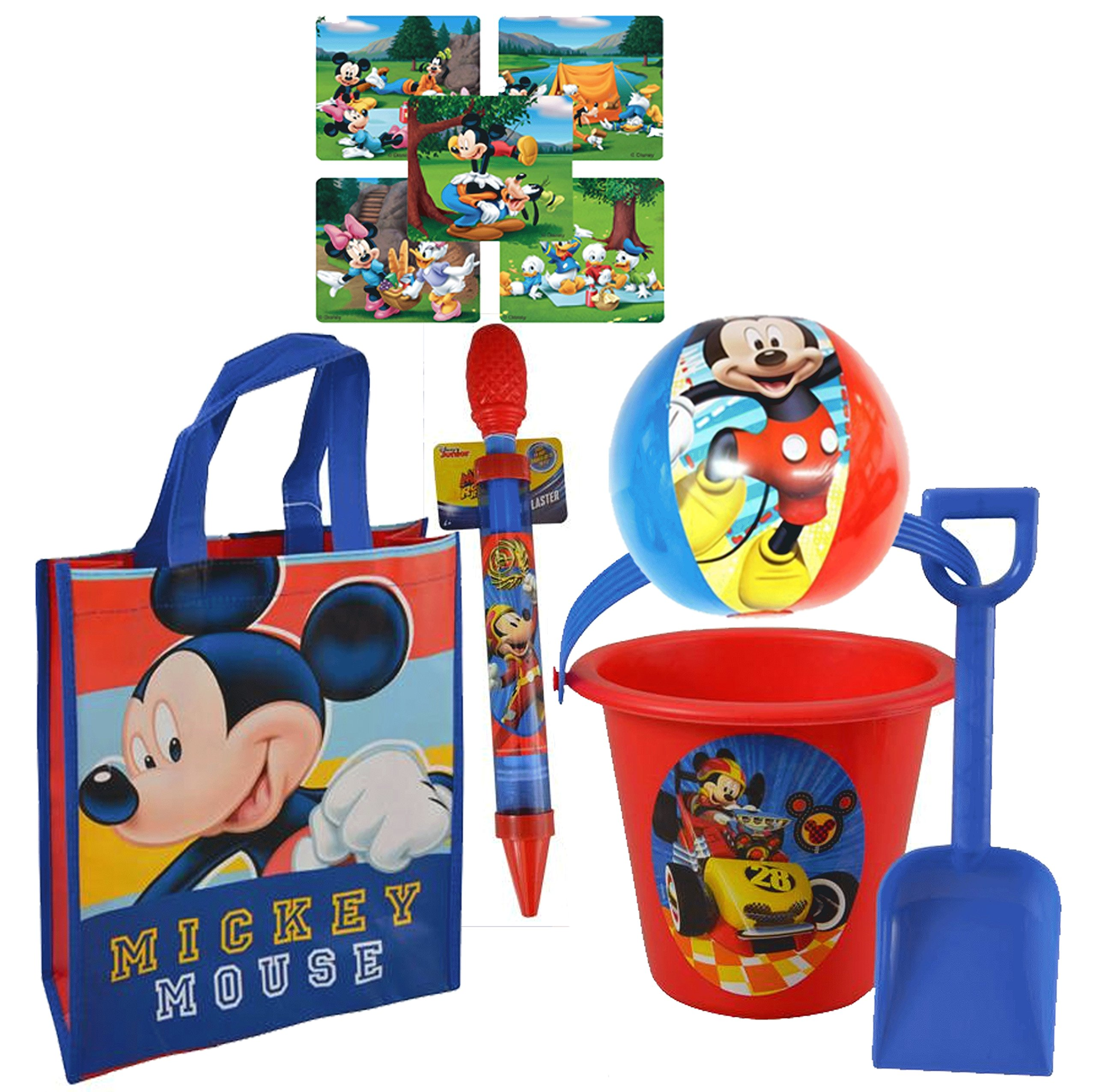 a9ecaba9703 Get Quotations · Mickey Mouse and the Roadster Racer 5pc Summer Bucket of  Fun! Includes Resuable Beach Tote