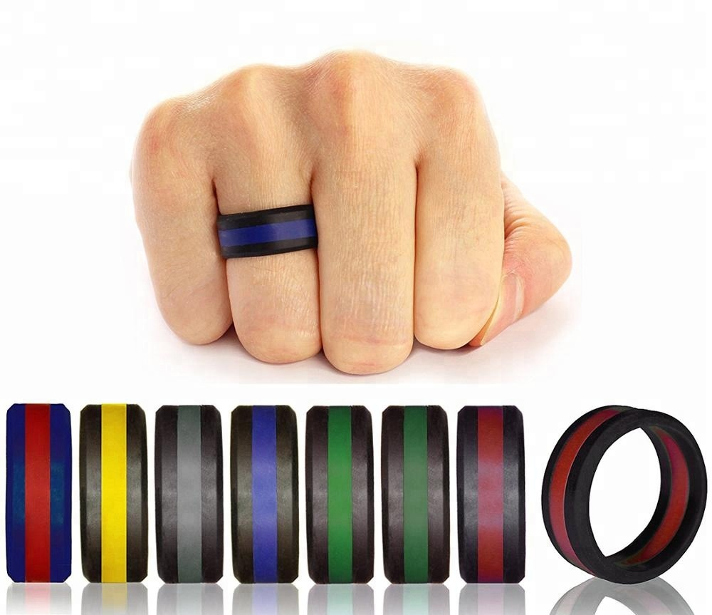 Stocked wholesale 3-8mm width men's and women's full sizes jelly colors sport silicone wedding <strong>rings</strong>