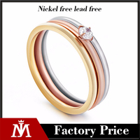 Female Stainless Steel Diamond Engagemetn Rings, tricolor cring crystal jewelry