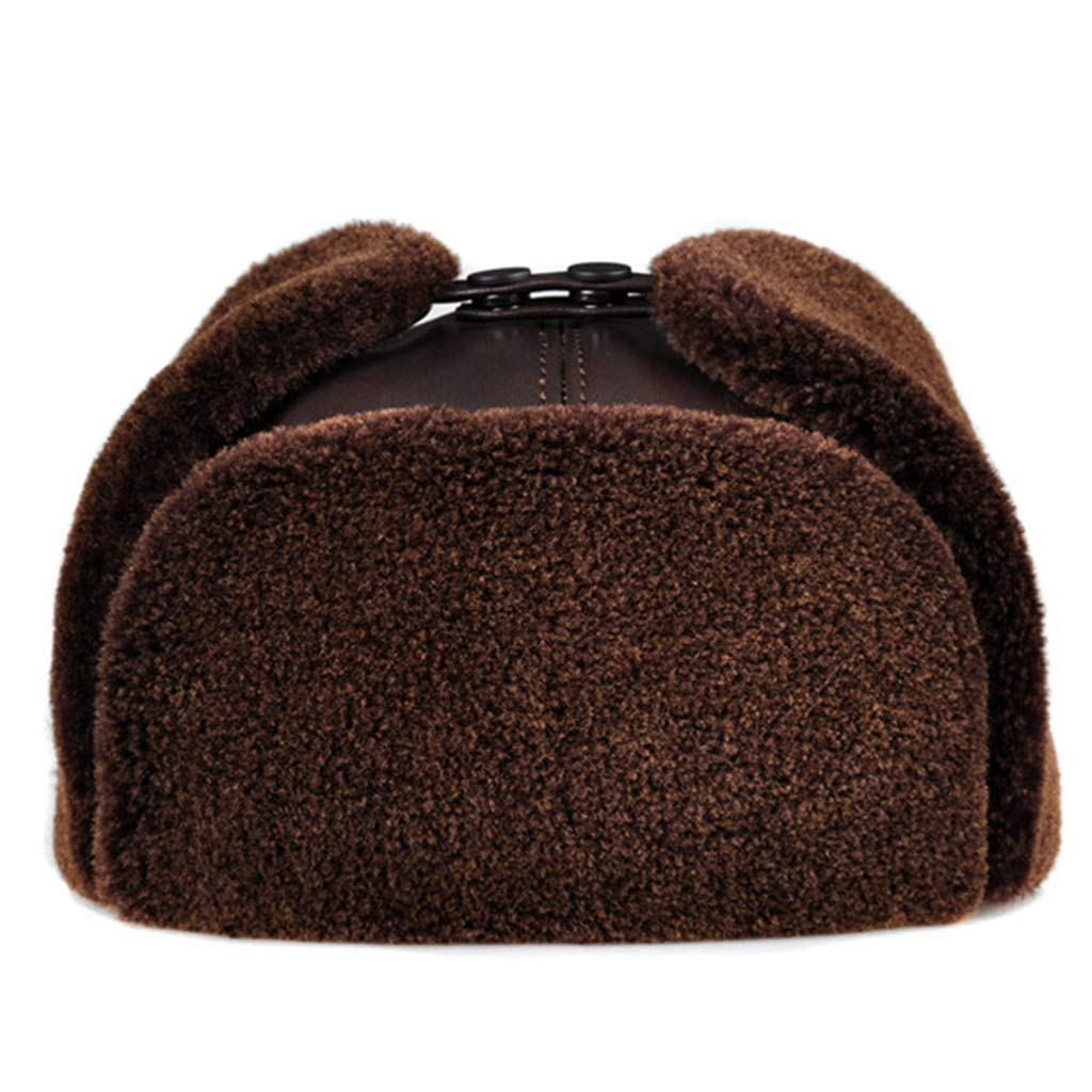 WONNA Bomber Leather Men's with earlflap Russian Winter Faux Fur Earmuffs caps Brown Black Colors Hats