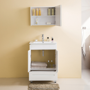 Floor Standing 2 Doors 1 Drawers Free Standing Solid Wood Bathroom Cabinet India With Mirror Cabinet