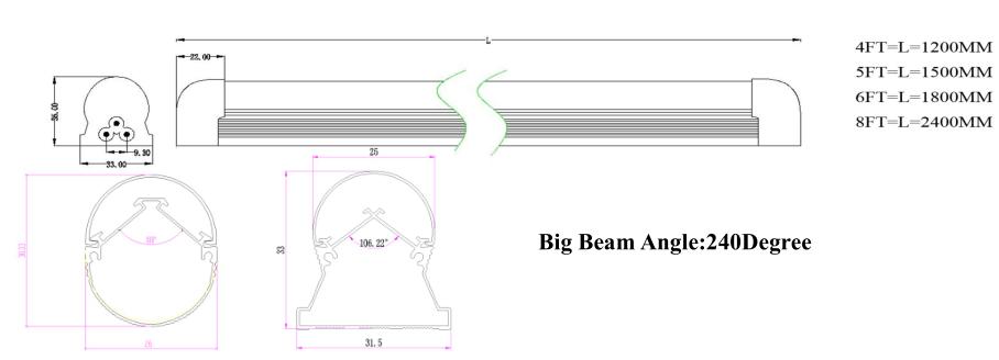 Integration V-shape Led Tube 4/5/6/8 Feet Ac100-277v T8 Freezer ...