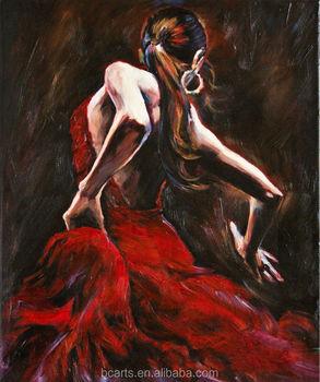 Beautiful Lady Wall Painting Canvas Woman Figure Spanish Flamenco Dancer Oil