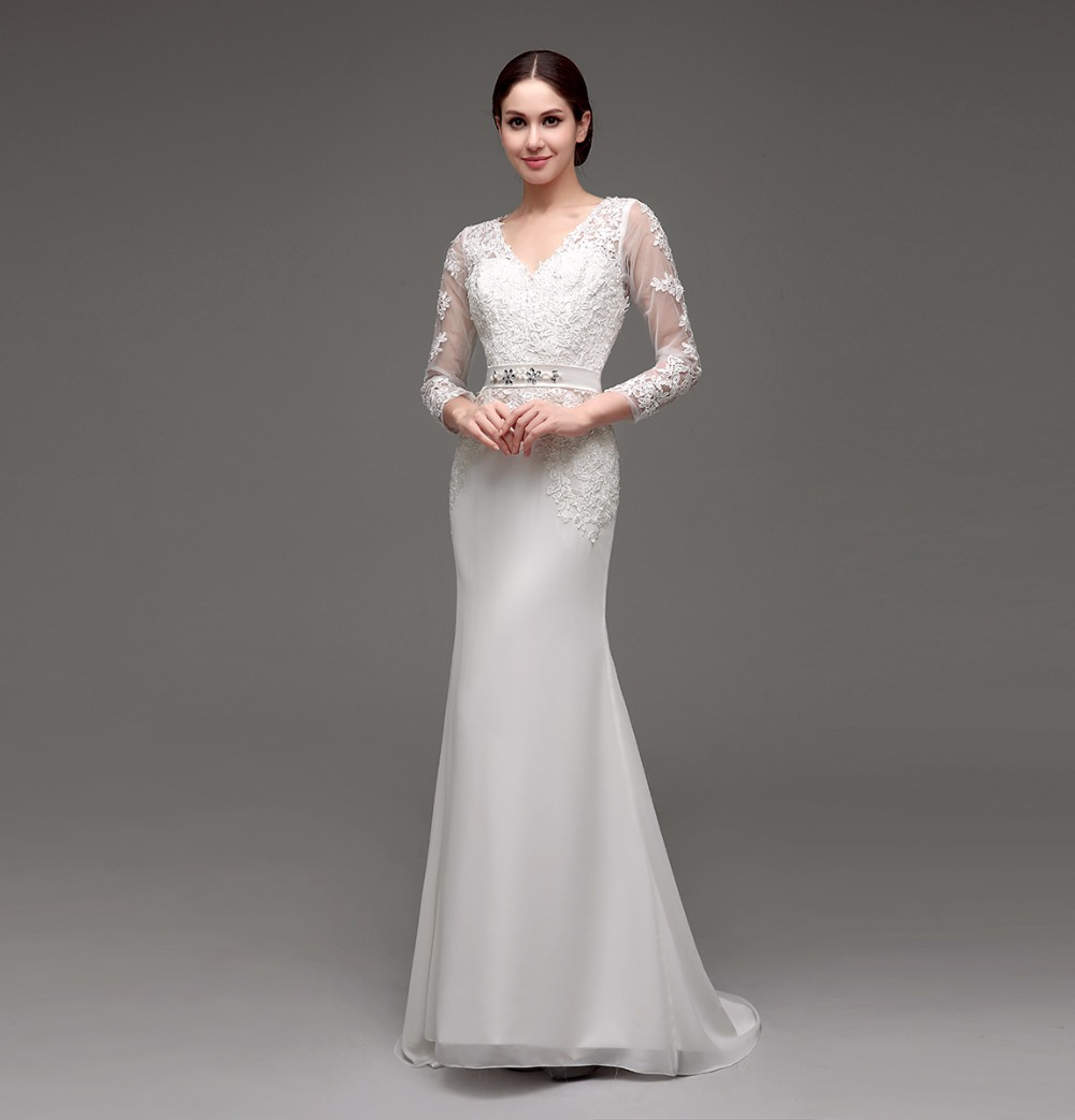 Aliexpress Com Buy Simple Elegant See Through Lace Part: New Coming Lace Appliques See Through Long Sleeve Chiffon