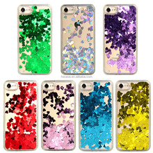 7 colors transparent back cover liquid heart phone case for iphone 7 7 plus 6 6 plus holo phone case