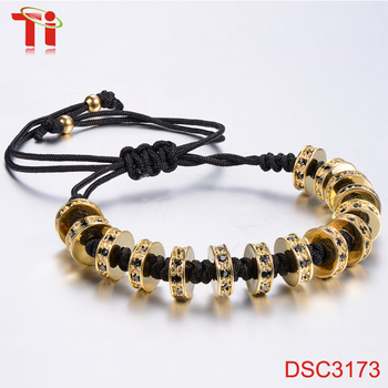 Fashion Gold Plated Zircon Stoppers Macrame Bracelet Braided Rope 18k Jewellery Whole Charm