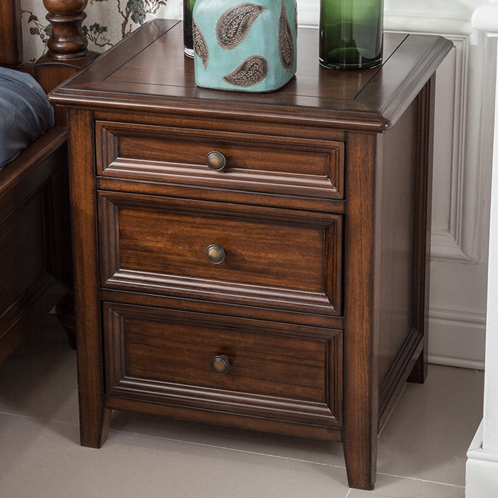 LJ&L Pure hand-made bedside lockers, three-drawer brass handle Luxurious home bedroom bedside tables, European-style retro lockers,Black walnut,21.617.724.4inch
