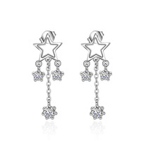 XZE380 Nickel-Free Yellow 14K Gold Jewelry Wholesale Christmas Cubic Zirconia Earring Clip