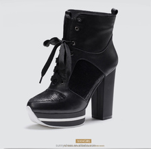 Fashion buckle strap platform high heel ankle boot