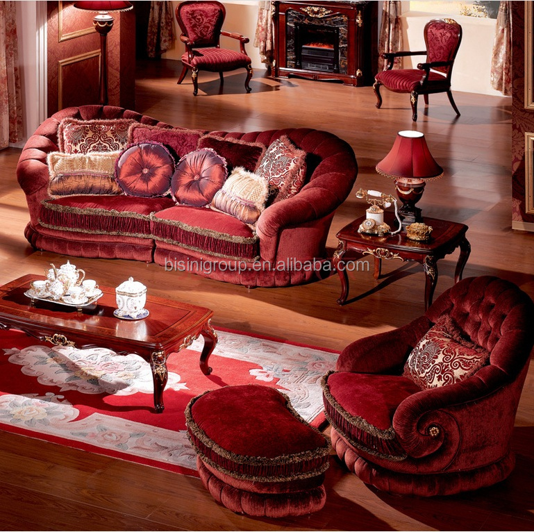 Luxury French Versailles Red Velvet Three Seat Couch, Noble Palace Style  Three Seat Sofa BF11