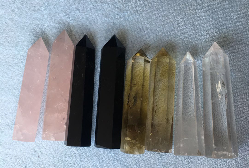 Natural crystal healing wands rose quartz obsidian obelisk gemstone wands chakra wands healing wand for gifts