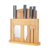 High Quality 6PCS  ABS Handle Sharpness Forging Knives Set With Bamboo Chopping Board And Knife Block