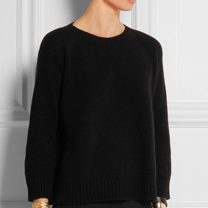 Solid Color Flat Knit Cashmere Crop Sweater