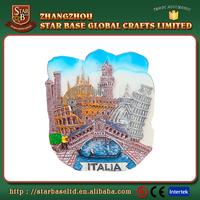 Tourist gift wholesale resin custom magnet Italia colorful fridge souvenir