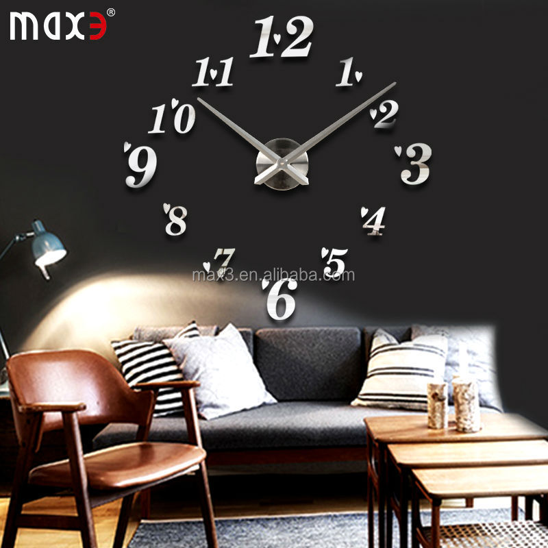 D Silver Mirror Design Diy Wall Decals Clock Acrylic Home Decor - Wall decals clock