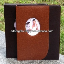 Family& wedding photo album leather cover with window/Linen cover flush mount wedding photo albums For Professional Photographer