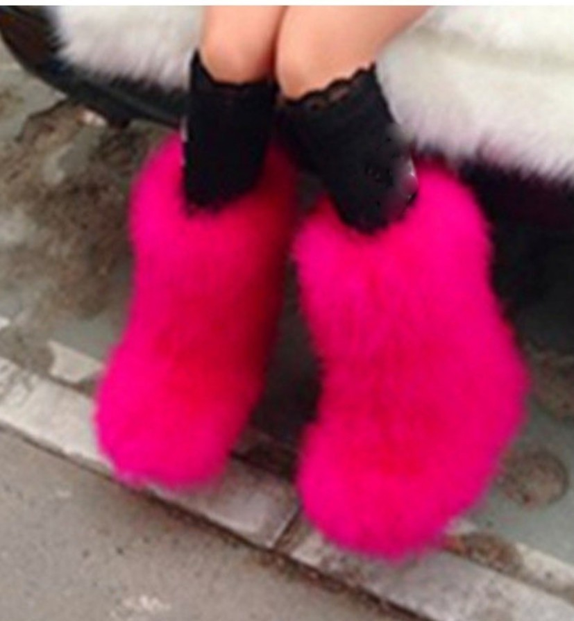 Winter Women Pink Genuine Real Hairy Shoes