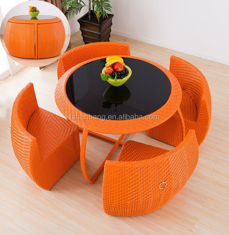 Hotsale Round Coffee Table Chairs Set Compact Rattan Balcony