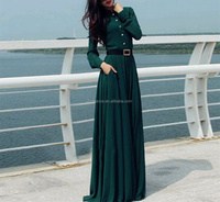 Top grade muslim long sleeve maxi dress