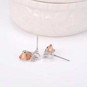 The Korean version of the new all-match high-grade temperament Earrings micro inlaid CZ mixed color selling Earrings 050502
