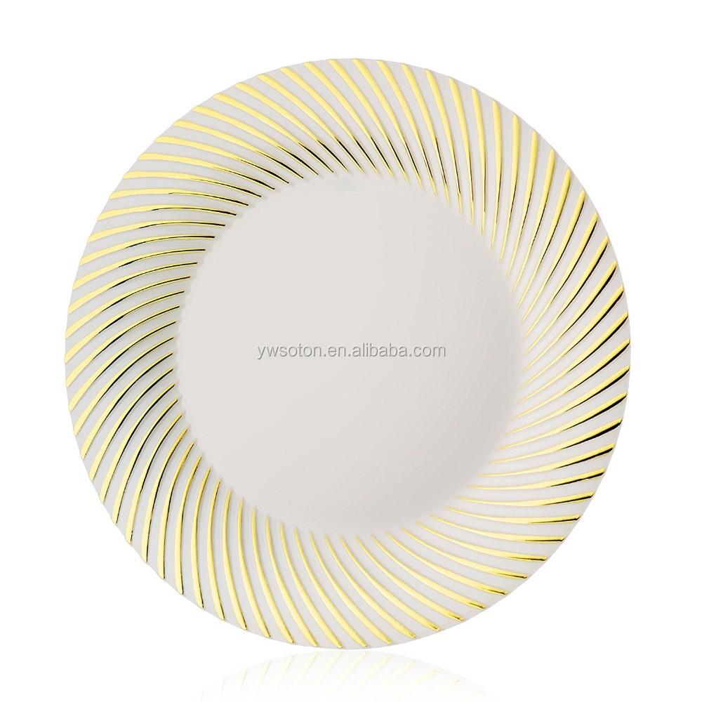 Heavyweight Elegant Dinnerware Plastic Silver Swirl