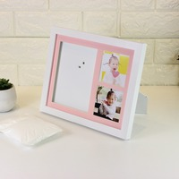 Wood White Baby Photo Frame Mat With Three Opening, Two For Picture Photos And One For Baby Handprint Footprint