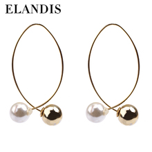 E-ELANDIS gold beautiful designed earrings with pearl ER50479