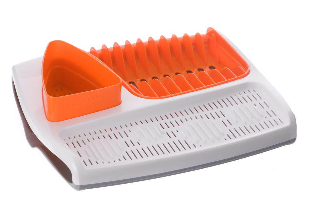 Single Layer Stand Kitchen Plastic Dish Drying Rack With Fork And Cup Holder