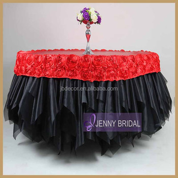 Alibaba & Tc121b Black And Red Round Table Coth With Table Cap Organza Ruffle Table Cover For Wedding - Buy Table Covers For WeddingsOrganza Table CoverTable ...