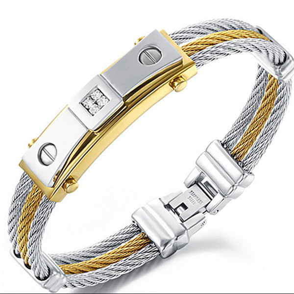 Yiwu Aceon Stainless Steel Dubai Gold Jewelry Fashion Men S 3 Layers Mens Wire Bangle Bracelet