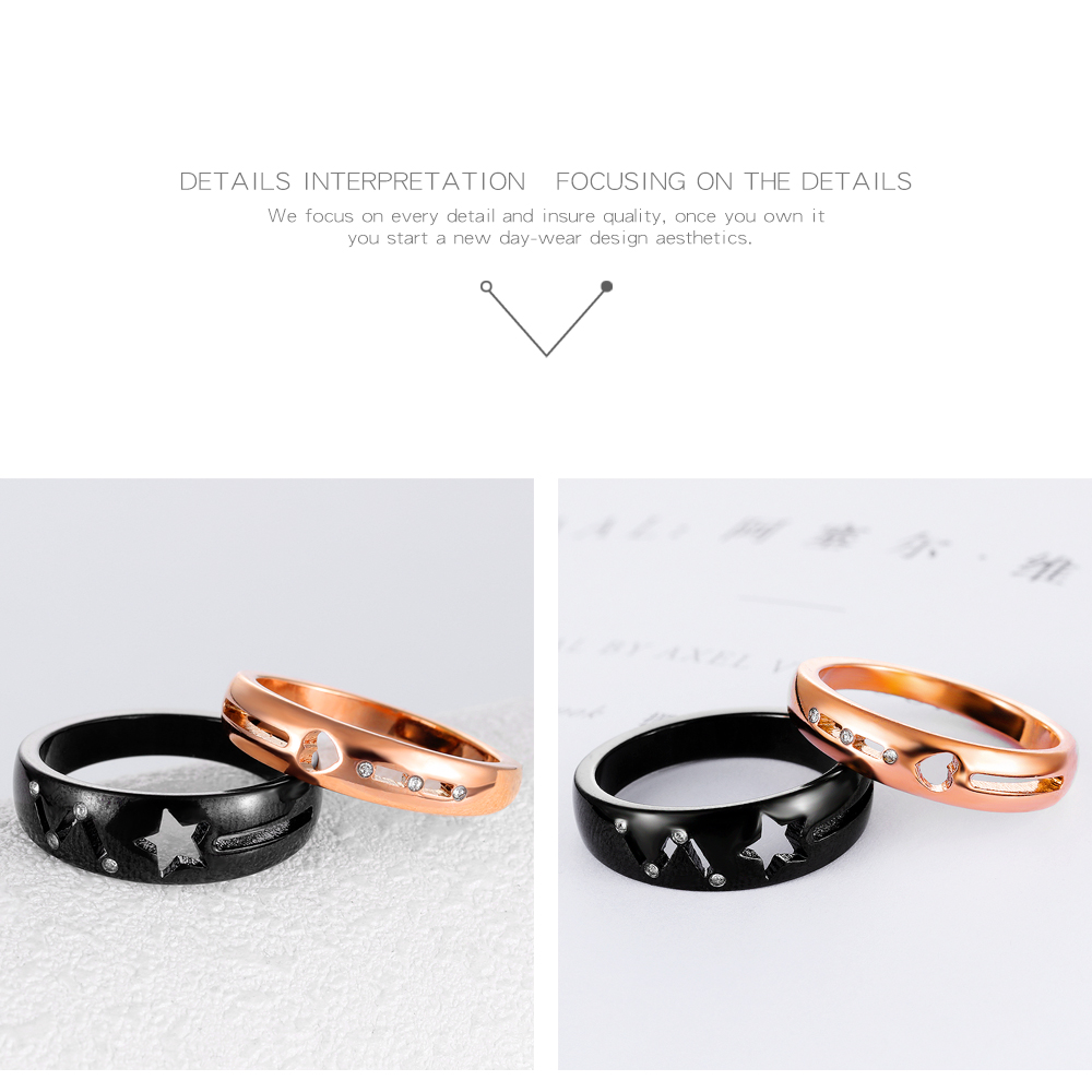 New Design Women Men Star Design Couple Rings For Valentine'S Day