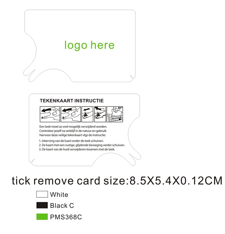 Groothandel logo creditcard sized tick remover card