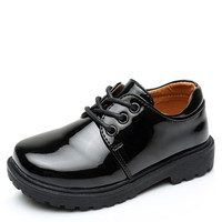 Fashion student back to school kids shoes children boys ,black leather kids school shoes for children boys school shoes black