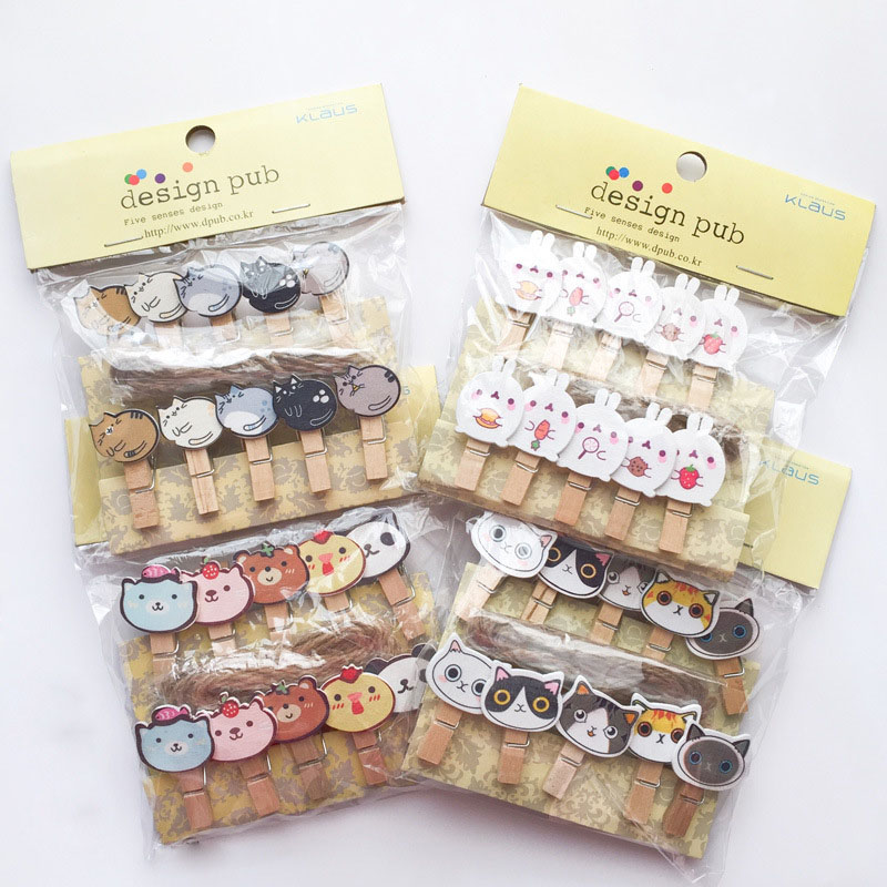 18 Style Cartoon Wooden Animal Cat Panda Merry Christmas Tree Ornaments Photo Clip With Rope New Year Party Decor Postcard Clips