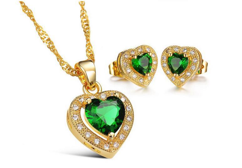 966470b7df49 las mujeres de cristal joyas aretes de piedras preciosas verde colgante de  collar de oro 24