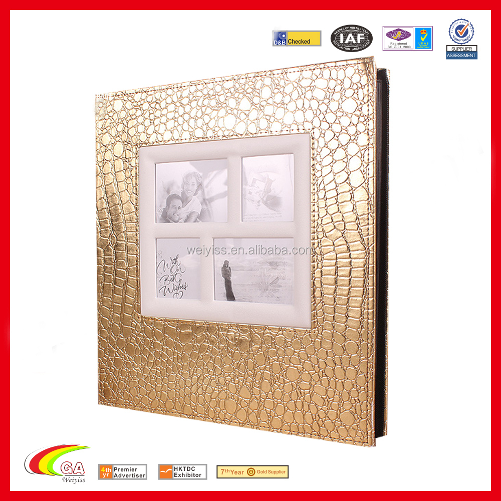 new fashion gold photo album cover,leather baby photography portfolio