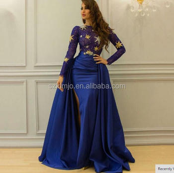 Detachable Skirt Royal Blue Arabic Prom Dresses For Muslim Elegant