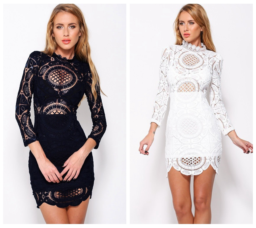 233393d59348 Get Quotations · New 2015 Autumn Fashion Women Dress Vintage Dress Bohemian  Style White Black Crochet Lace High