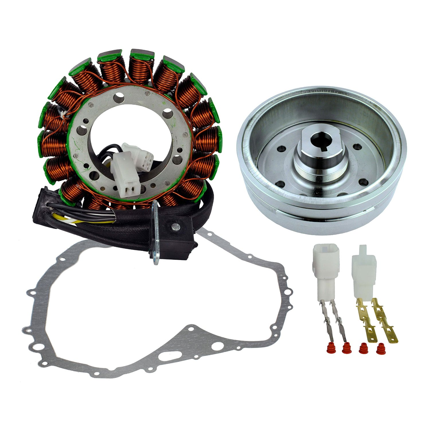 Get Quotations · Kit Improved Flywheel + Stator + Crankcase Cover Gasket  For Suzuki LTF 400 Eiger Manual Arctic